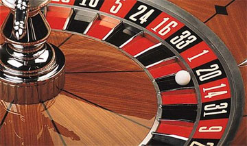 Close-up of the roulette ball at the end of the spin
